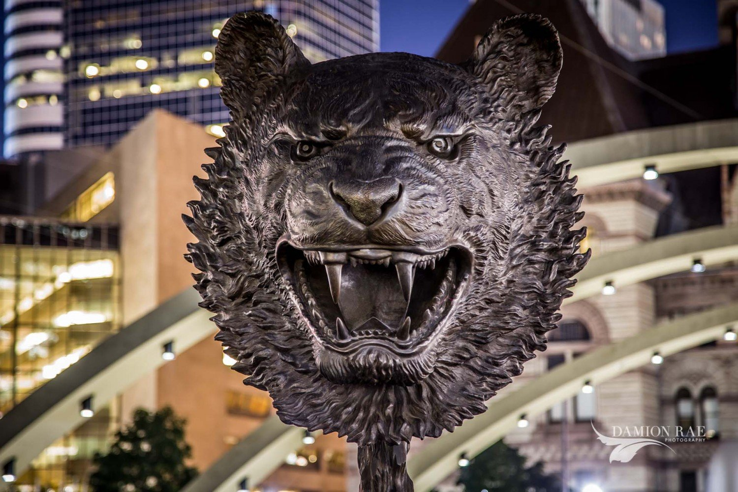Ai Weiwei sculpture Circle of Animals/Zodiac Heads at Nathan Phillip Square at Night