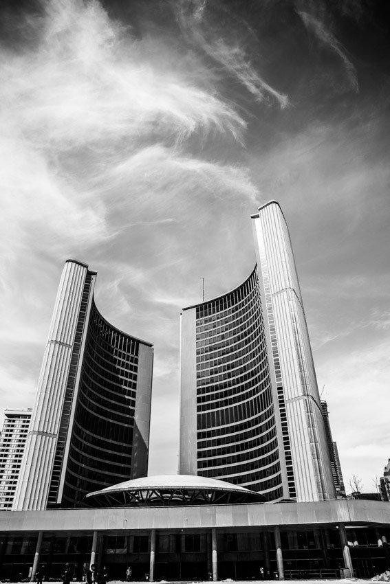 Toronto black and white new city hall