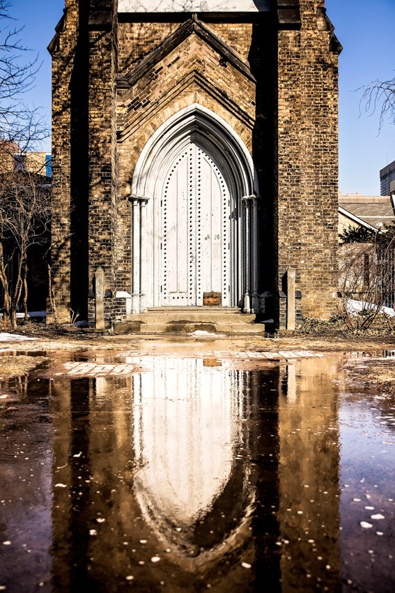 Toronto black and white Church Reflection Saint George the Martyr Anglican Church