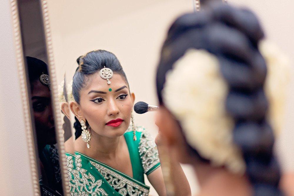 bride getting ready Sathya Sai Centre Scarborough toronto wedding photographer