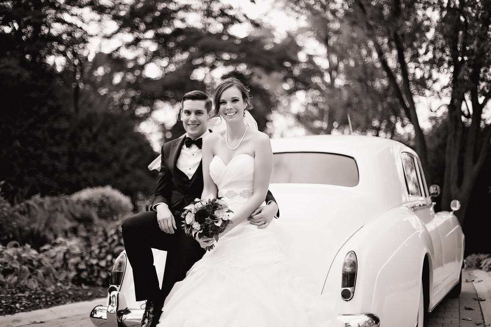 bride and groom limo Paletta Mansion Burlington