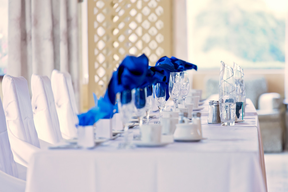 royal blue wedding decor Caledon Golf and Country Club toronto Wedding Photographer