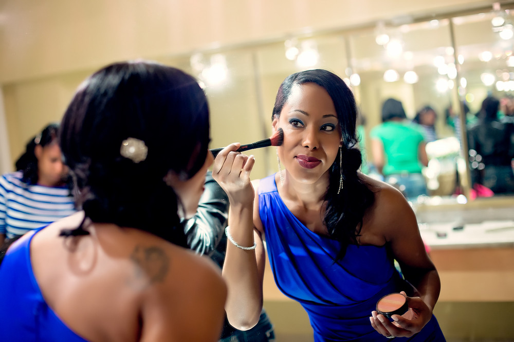 royal blue bridesmaids dress getting ready shots Caledon Golf and Country Club toronto Wedding Photographer