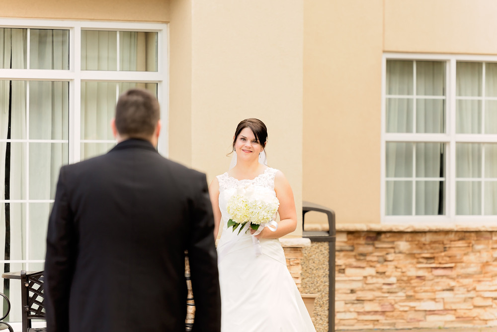 first look portrait Otellos Centre Oakville Wedding
