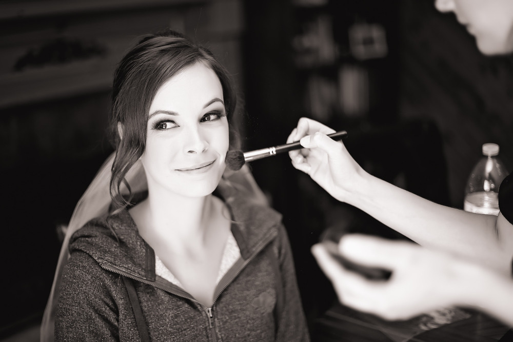 portrait of bride getting ready Walton Memorial United Church Oakville