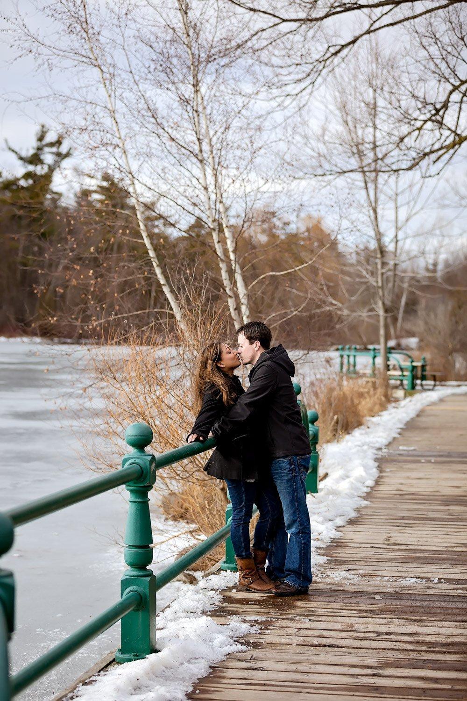 mill pond park winter engagement richmond hill Toronto wedding photographer